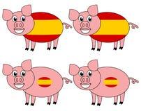 Усмехаться и счастливая свинья поднятые в Испании иллюстрация штока