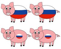 Усмехаться и счастливая свинья поднятые в России иллюстрация штока