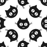 усмехаться котов Смешная безшовная картина для детей иллюстрация вектора
