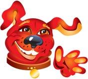 усмехаться красного цвета собаки иллюстрация штока