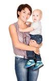 усмехаться мати младенца счастливый Стоковое Изображение RF