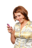 усмехаться мобильного телефона девушки Стоковое Изображение RF