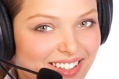 усмехаться оператора центра телефонного обслуживания Стоковое Фото
