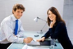 усмехаться офиса businessteam Стоковые Изображения