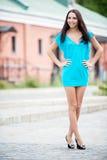 усмехаться платья красотки голубой Стоковое фото RF