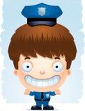 Усмехаться полицейского мальчика шаржа иллюстрация вектора