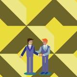 Усмехаться, положение и Handshaking бизнесменов 2 люд в одине другого костюма приветствуя в жесте удерживания руки творческо иллюстрация штока