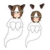 Усмехаться призрака девушки ушей кота также вектор иллюстрации притяжки corel белизна изолированная предпосылкой иллюстрация штока