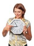 усмехаться пунктов девушки перста часов Стоковая Фотография RF