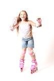 усмехаться роликов девушки счастливый Стоковая Фотография RF