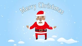Усмехаться Санта Клауса и поздравленное веселое рождество Плоский дизайн Приветствовать e-карту с рождеством текста веселым сток-видео