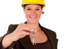усмехаться строительного подрядчика женский Стоковая Фотография RF