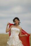 усмехаться ткани невесты красный Стоковое Фото