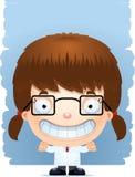 Усмехаться ученого девушки шаржа иллюстрация вектора