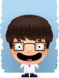 Усмехаться ученого мальчика шаржа иллюстрация штока