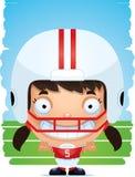 Усмехаться футболиста девушки шаржа иллюстрация вектора