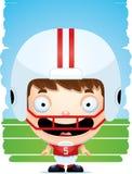 Усмехаться футболиста мальчика шаржа иллюстрация вектора