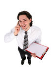 усмехаться человека удерживания clipboard Стоковая Фотография RF