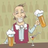 усмехаться barman иллюстрация вектора