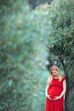 Усмехаясь беременная женщина смотря вниз стоковые изображения rf
