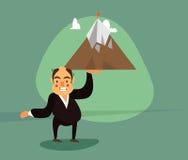 Усмехаясь бизнесмен в смокинге поднимает один держатель руки Иллюстрация штока