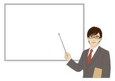 Усмехаясь бизнесмен держа ручку указателя стоковые изображения rf