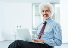 Усмехаясь бизнесмен работая на компьтер-книжке Стоковые Изображения