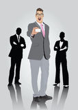 Усмехаясь бизнесмен с визитной карточкой показа зрелищ Стоковые Изображения RF