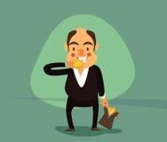 Усмехаясь бизнесмен с сумкой полной золотых монеток Иллюстрация вектора