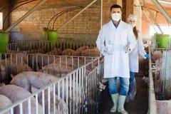 2 усмехаясь ветеринара в защитной одежде Стоковая Фотография