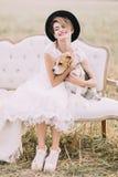 Усмехаясь год сбора винограда-одетая невеста с черной шляпой обнимает симпатичную собаку и сидит на софе в солнечном Стоковая Фотография RF