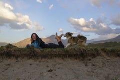 Усмехаясь девушка играя с собакой на высокогорном луге Стоковые Изображения