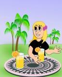 Усмехаясь девушка с содой или апельсиновым соком Стоковые Фотографии RF