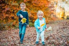 2 усмехаясь дет в парке осени Стоковые Изображения RF
