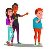 Усмехаясь друзья шепчут за задней частью грустного вектора мальчика изолированная иллюстрация руки кнопки нажимающ женщину старта иллюстрация вектора