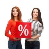 Усмехаясь девочка-подросток 2 с знаком процентов на коробке Стоковое фото RF