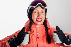 Усмехаясь девушка сноубординга Стоковые Изображения