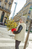 Усмехаясь девушка с рождественской елкой в дорога скрещивания Париже, Франции Стоковые Изображения RF