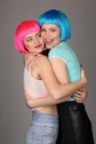 Усмехаясь девушки в красочный обнимать париков конец вверх Серая предпосылка Стоковая Фотография