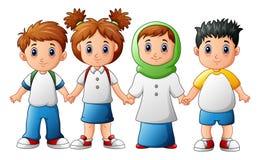 Усмехаясь дети держа руки совместно Стоковые Изображения RF