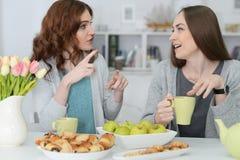 2 усмехаясь женских друз сидя на таблице Стоковое Изображение
