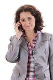 Усмехаясь женщина вызывает стоковое изображение rf