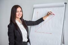 Усмехаясь женщина в черном сочинительстве куртки на большой бумаге составляет схему с отметкой в офисе и настоящих моментах диагр Стоковое Изображение RF