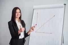 Усмехаясь женщина в черном сочинительстве куртки на большой бумаге составляет схему с отметкой в офисе и настоящих моментах диагр Стоковые Изображения RF