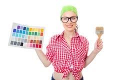 Усмехаясь женщина держа paintbrush Стоковое Изображение