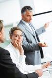 Усмехаясь женщина сидя на деловой встрече с коллегами Стоковые Фотографии RF