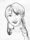 Усмехаясь женщина с оплетками, эскиз карандаша бесплатная иллюстрация
