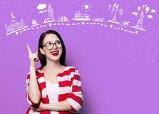 Усмехаясь женщина с трассой перемещения Стоковая Фотография