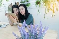 Усмехаясь женщины стороны используя таблетку в рабочем месте дома, рабочие места Стоковое фото RF