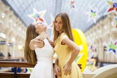 2 усмехаясь женщины фотографируют с умным телефоном Стоковое Изображение